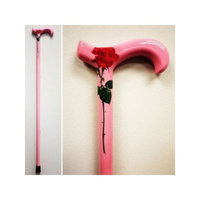 Med Aid Corp Carbon Fiber Walking Cane Color: Pink with Red Rose