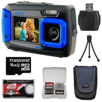 Coleman Duo 2V9WP Dual Screen Shock & Waterproof Digital Camera (Blue) with 16GB Card + Case + Kit