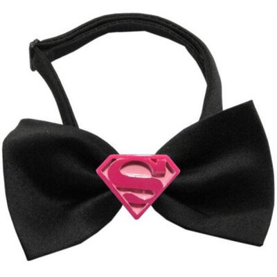 Ahi Pink Super Chipper Black Bow Tie