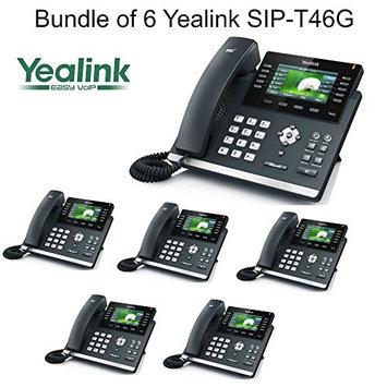 Yealink SIP-T46G Bundle of 6 Gigabit 16 Line VoIP Phone PoE No Power Supply