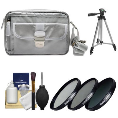 Nikon 1 Series Deluxe Digital Camera Case (Gray) with 3 UV/CPL/ND8 Filters + Tripod + Cleaning Kit for J1, J2, J3, S1, V1, V2, AW1