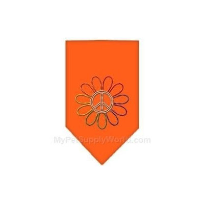Mirage Pet Products 6768 LGOR Rainbow Peace Flower Rhinestone Bandana Orange Large