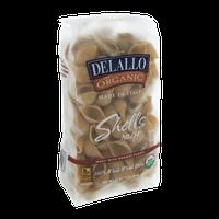 Delallo 100% Organic Shells Bronze Plates Whole Wheat Pasta