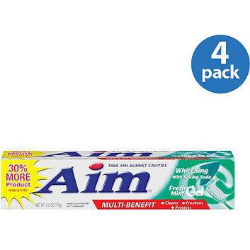 Aim Multi Benefit Fresh Mint Gel Whitening Toothpaste With Baking Soda