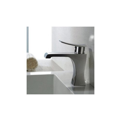 Contemporary Solid Brass Bathroom Sink Faucet - Chrome Finish