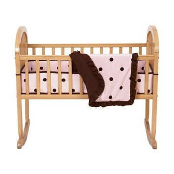 American Baby Company 3-Piece Cradle Set with Large Espresso Dot, Pink