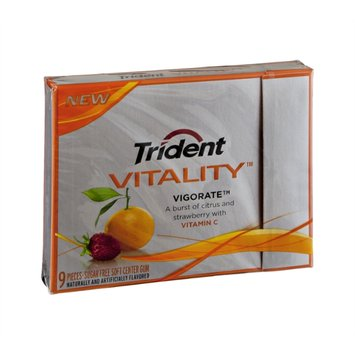 Trident Vitality Vigorate Citrus and Strawberry with Vitamin C Sugar Free Gum - 9 CT
