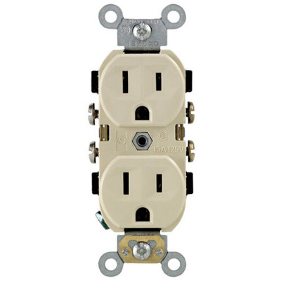 Leviton R41-0CR15-0IS Ivory 15 Amp Narrow Body Duplex Receptacle