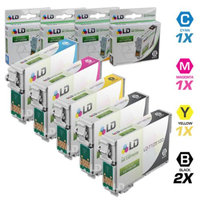 LD Remanufactured Replacement for Epson T125 5-Set Ink Cartridges: 2 Black T125120 & 1 each of Cyan T125220 / Magenta T125320 / Yellow T125420