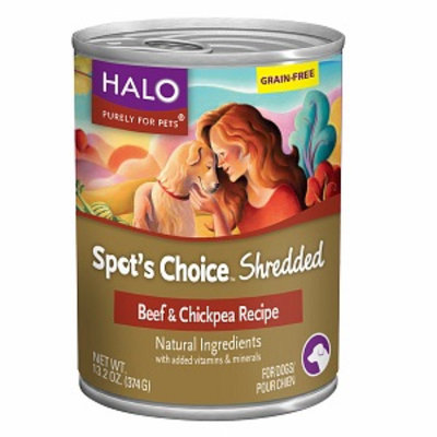 Halo, Purely For Pets Spot's Choice for Dogs Grain-free Shredded Formula, Beef & Chickpea Recipe, 13.2 oz