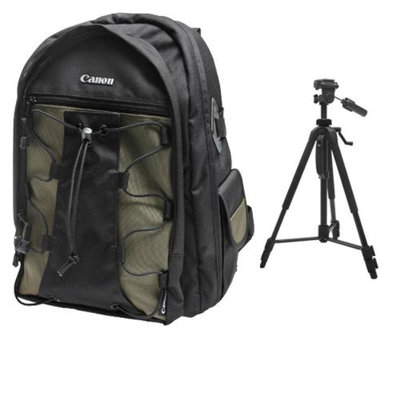 Canon 200EG Deluxe Digital SLR Camera Backpack Case + Photo/Video Tripod for EOS 6D, 70D, 5D Mark II III, Rebel T3, T3i, T4i, T5, T5i, SL1
