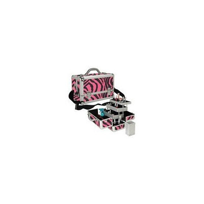 Seya Pink Zebra Professional Aluminum 3 Tray Makeup Train Case
