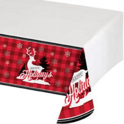Christmas Central Pack of 12 Winter Lodge Border Printed Plastic Holiday Party Tablecover 54 x 102