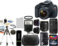 Canon EOS Rebel T3 Digital SLR Camera + 18-55 IS II + 75-300 III +Wide Angle +Telephoto Lenses + Kit
