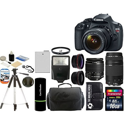 Canon EOS Rebel T3 Digital SLR Camera + 18-55 IS II + 75-300 III +Wide Angle +Telephoto Lenses + Kit
