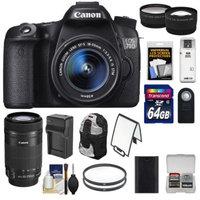 Canon EOS 70D Digital SLR Camera & EF-S 18-55mm & 55-250mm IS STM Lens + 64GB Card + Battery + Charger + Backpack + Tele/Wide Lens Kit