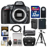 Nikon D5300 Digital SLR Camera Body (Grey) with 32GB Card + Case + Grip + Battery & Charger + Tripod + HDMI Cable + Remote Kit