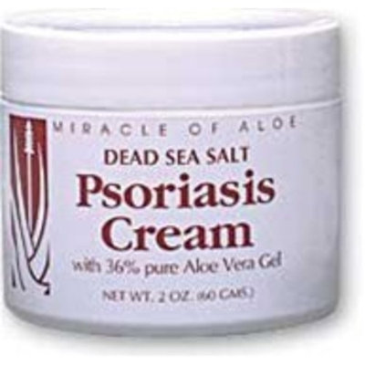 Miracle of Aloe Dead Sea Salt Psoriasis Cream 2 Oz Contains 36% Pure Aloe Vera Gel & Dead Sea Salts! Naturally Helps Relieve the Dry, Itchy, Scaly Skin Caused By Psoriasis, Eczema and Other Irritating Skin Disorders. Re Moisturizes and Helps Heal Skin! Back, Legs, Arms, Scalp, Elbows, Hands, Feet Psoriasis, Plaque Psoriasis. Heal Your Skin Now with His Fast Active Ingredient Formula!