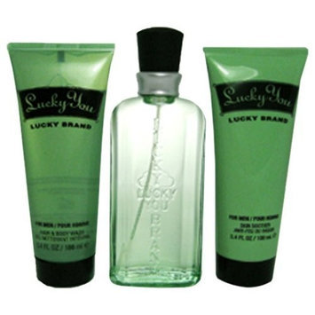 Lucky You By Lucky Brand For Men. Gift Set (cologne Spray 3.4 Oz+ Skin Soother 3.3oz + Hair & Body Wash 3.3 Oz )
