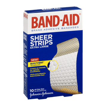 Band-Aid Adhesive Bandages Sheer Strips Extra Large - 10 CT