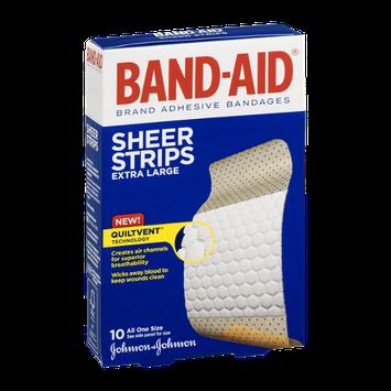 Band-Aid Adhesive Bandages Sheer Strips Extra Large - 10 CT