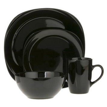CCA International Quadro 16-pc. Dinnerware Set - Black