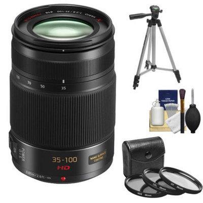 Panasonic Lumix G X Vario 35-100mm f/2.8 OIS Lens (Black) with 3 (UV/CPL/ND8) Filters + Tripod + Accessory Kit for Lumix DMC-G6, GF6, G5, GF5, GH3, GX1, G3, GF3 Digital Cameras