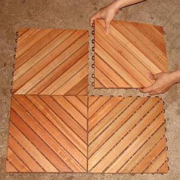 VIFAH Deck Tiles 12 Slat Diagonal 10 Tiles Box FSC Eucalyptus Hardwood