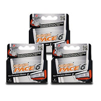 Dorco Pace 6- Six Blade Razor System Refill Cartridge - 4 Count, Pack of 3 (No Handle)