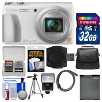 Panasonic Lumix DMC-ZS35 Wi-Fi Digital Camera (White) with 32GB Card + Case + Flash + Battery + Tripod + Kit