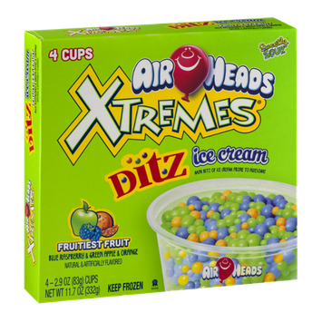 Air Heads Xtremes Ditz Ice Cream Cups Fruitiest Fruit - 4 CT