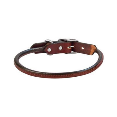 Weaver Briarwood Rolled Leather Collar 1 x 19 Chestnut
