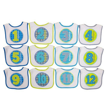 Hamco Boy 12 Pack Monthly Milestone Bib Set