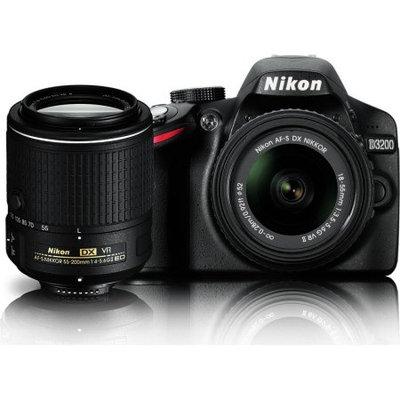 Nikon 24.2 MP CMOS Digital SLR Camera with 18-55mm and 55-200mm VR DX Zoom Lenses Bundle