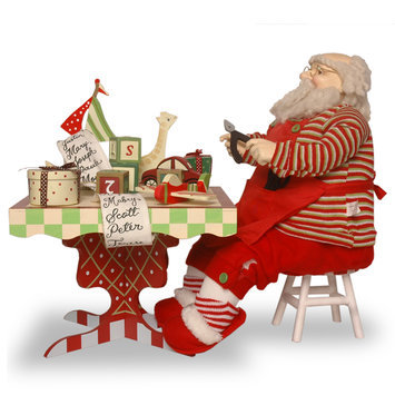 Christmas Decorations: Santa with Tool Bench and Toys