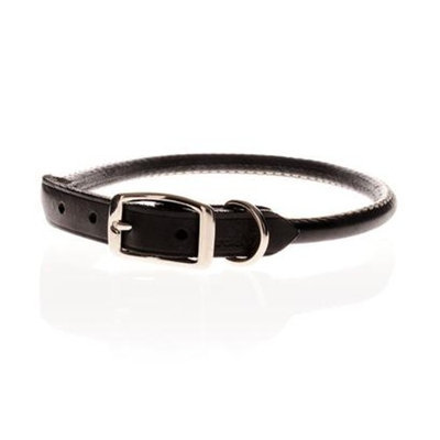 Topdawg Pet Supply Round Leather Collars [Options : Black]