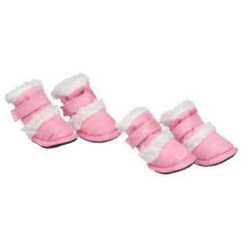 Pet Life Shearling Duggz Shoes, Small, Pink, 1 ea