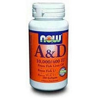 NOW Foods A and D 10,000/400 Iu, 250 Softgels (Pack of 2)