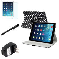 Insten INSTEN Black/White Polka Dot 360 Leather Case Cover+Matte Protector/For Apple iPad Air 5 5th