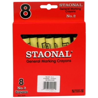 Crayola. 5200023051 Staonal Marking Crayons Black 8/Box