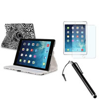 Insten INSTEN White/Black Leopard 360 Leather Case Cover+Protector+Pen For Apple iPad Air 5 5th Gen