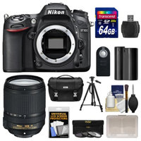 Nikon D7100 Digital SLR Camera Body with 18-140mm VR Lens + 64GB Card + Case + Battery + Tripod + 3 Filters Kit