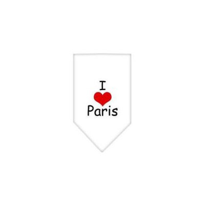 Ahi I Heart Paris Screen Print Bandana White Small
