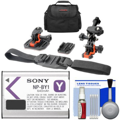 Essentials Bundle for Sony Action Cam HDR-AZ1 Camcorder with Sony NP-BY1 Battery + 2 Helmet & Flat Surface Mounts + Case + Kit