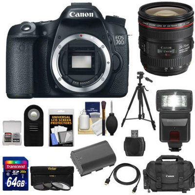 Canon EOS 70D Digital SLR Camera Body with EF 24-70mm f/4L IS Lens + 64GB Card + Battery + Case + 3 Filters + Flash + Tripod + Accessory Kit