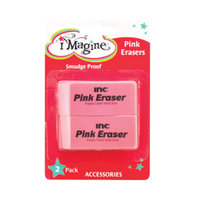 Imagine Pink Erasers, 2 ct