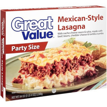 Great Value Mexican Style Party Size Lasagna, 84 oz