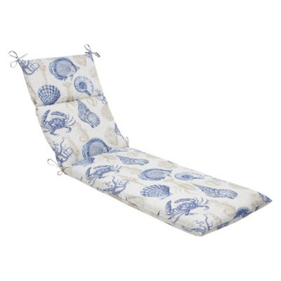 Pillow Perfect Outdoor Chaise Lounge Cushion - Blue/Tan Sealife