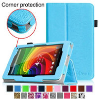 Fintie Toshiba Excite 7c AT7-B8 7-Inch Tablet Folio Case - Premium Vegan Leather Cover with Stylus Holder, Blue