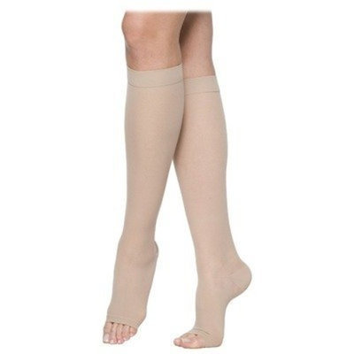 Sigvaris 770 Truly Transparent 20-30 mmHg Women's Open Toe Knee High Sock Size: Small Short, Color: Suntan 36